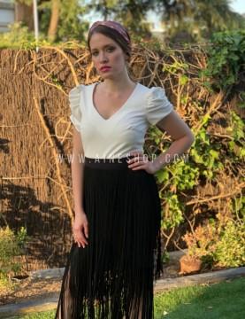Falda larga  de flecos de fiesta negra