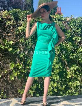 Vestido abanico con volantes verde