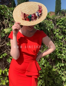 Vestido volantes en la cintura rojo