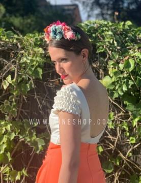 Falda de fiesta de corte alto con nudo en la cintura naranja