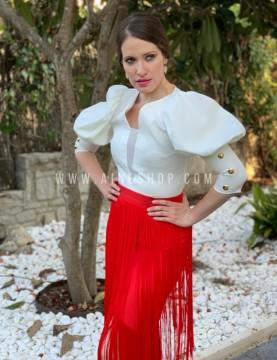 Falda larga de flecos de fiesta roja