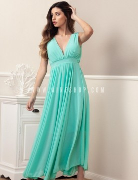 vestido largo de chifon